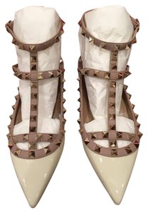 Valentino Rockstud Studded Caged Ankle Strap white Flats