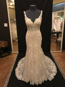 Martina Liana Ivory Lace and Tulle Over Cafe Matte-side Lustre Satin 817 Vintage Wedding Dress Size 10 (M)