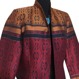 Coldwater Creek red, black, gold Blazer