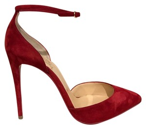 Christian Louboutin Uptown Stiletto Suede Ankle Strap Ankle red Pumps