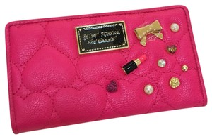Betsey Johnson Betsey Jonson wallet bifold quilted charm Be Mine pink gold