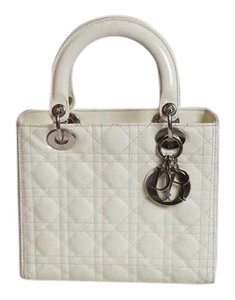 Dior Christiandior Leather Tote in White