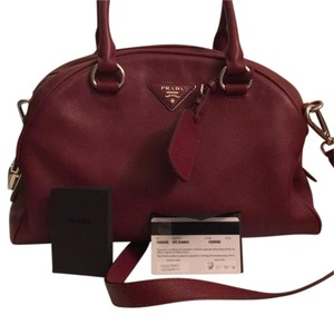 Prada Satchel in blood red