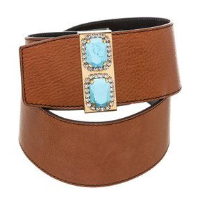 Valentino Valentino Brown Leather Jeweled Embellished Wide Belt (Size 40)