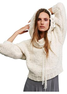 Free People Hooded Chunky Crop Sweater