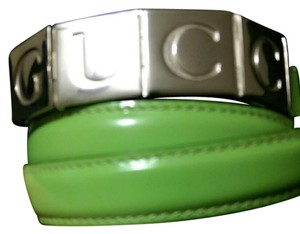 Gucci Skinny belt, glazed calfskin, green color, flexable Gucci squares buckle
