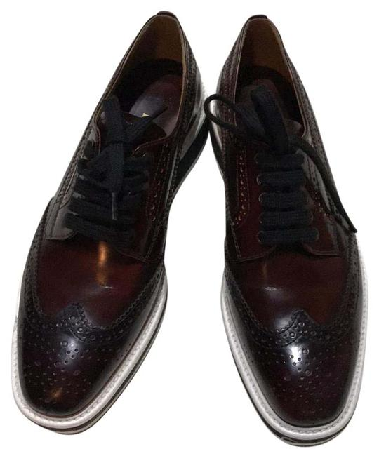 Item - Burgundy Glossy Leather Winged Oxford Sneakers Size US 7 Regular (M, B)