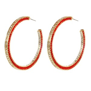 Amrita Singh Large Amrita Singh Gold Ruby Crystal Hoops New