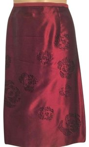 Ann Taylor Silk Sequin Skirt Red