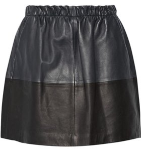 Vince Mini Micro-mini Leather Color-blocking Mini Skirt blue/black