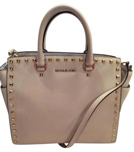Michael Kors Studded Satchel in Cream
