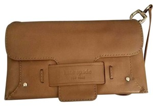 Kate Spade Leather Brown Tan Clutch