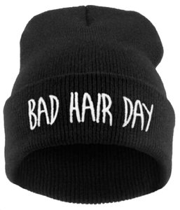 Other Beanie Hat Black Winter Warm Knit Bad Hair Day Logo