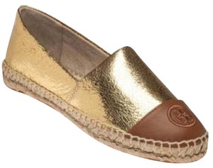 Tory Burch Gold and Tan Flats