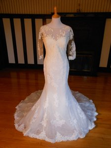 Pronovias Off White Lace Roxanne Destination Wedding Dress Size 12 (L)