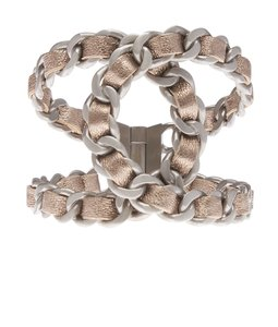 Chanel Chanel Metallic Gold Leather Silver-tone Cuff Bracelet (118833)