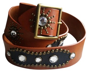Newport News Leather belt with brass and rhinestones
