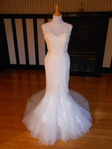 Pronovias Ivory/Beige Lace Damara Destination Wedding Dress Size 12 (L)