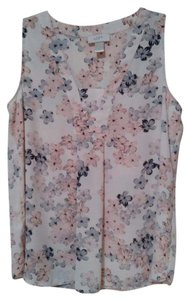 Ann Taylor LOFT Sleeveless Top peachy-pink, grays and cream