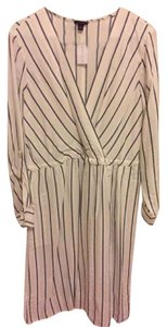 Ann Taylor short dress White with black stripes Summer Linen Work on Tradesy