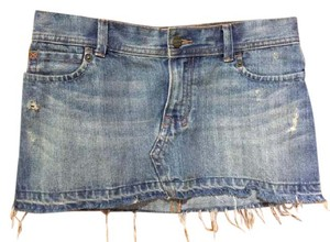 Hollister Distressed Frayed Boho Festival Hippie Mini Skirt Jean