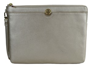 Tory Burch Leather Zip Gold Clutch