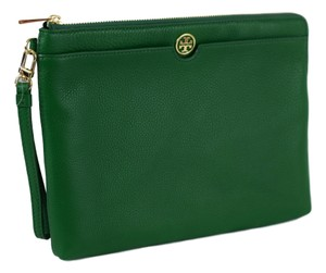 Tory Burch Leather Zip Emerald Clutch