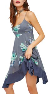 Free People short dress blue Floral Boho on Tradesy