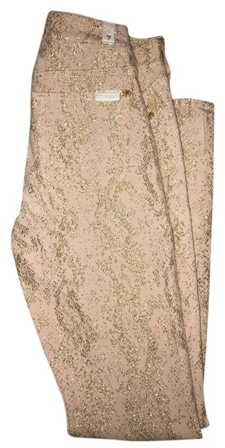 Item - Pink Gold And Metalic Skinny Jeans Size 23 (00, XXS)