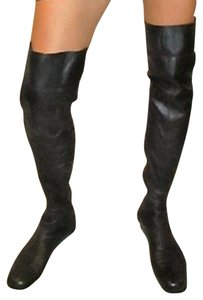 Chanel Soft Leather Zipper At Ankle Over The Knee Black Boots