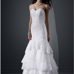 David's Bridal Petite Tiered All Over Lace Mermaid Wedding Dress Wedding Dress