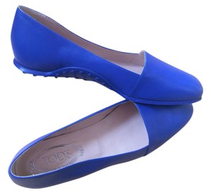 Tod's Comfort Driving Square Toe Blue Flats