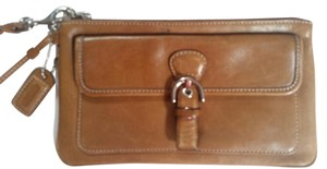Coach Leather Silver Hardware Wristlet in Brown