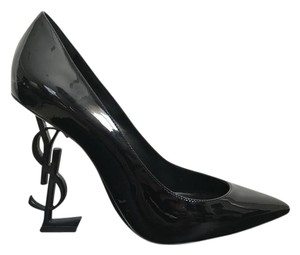Saint Laurent Patent Leather Pointed Toe Logo Ysl Black Pumps