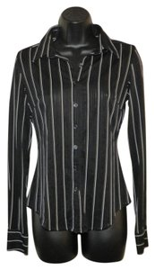 Express Stripe Buttoned Stretchy See-thru Button Down Shirt Black and White