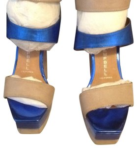 Jeffrey Campbell Taupe and metallic blue Platforms