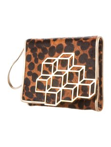 Pierre Hardy Poneyhair Gold Hardware cognac and black Clutch