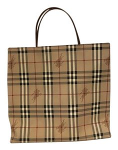 Burberry Tote in Burberry plaid , camel, black, cream, and dark red