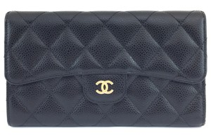 Chanel #11089 Timeless CC Caviar quilted leather trifold large long flap blac