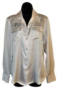 Jones New York Buttons Polyester Blouse Pockets Button Down Shirt Off White