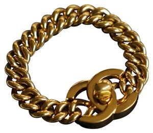 Chanel Chanel Gold Plated Turnlock Bracelet