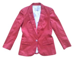 Banana Republic Pink Cotton Buttons Fitted Stretchy Salmon Pink Blazer