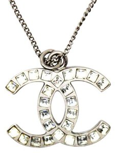 Chanel #11092 CC Baguette crystals silver chain necklace