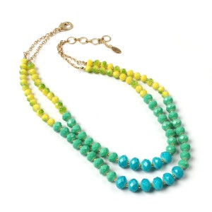 Amrita Singh Two- strand glass beads necklace with ombre effect. 5-piece set of faceted glass bead stretch bracelets, each with Austrian crystal ball.