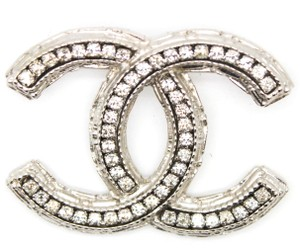 Chanel #11093 CC crystals inlay pave silver hardware brooch pin charm