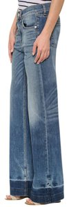 Rag & Bone Distressed Flare Highwaist Denim Cotton Trouser/Wide Leg Jeans-Distressed