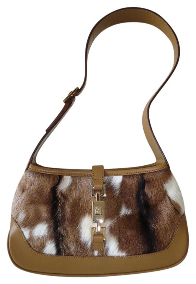 30043015283 Gucci Jackie Pony Hair Fur Mini Shoulder Evening Brown Leather ...