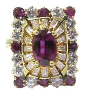 Other Fine 18K Gem Ruby Diamond Ballerina Jewelry Ring 3.15CT