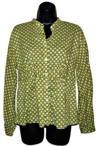 Jones New York Circles Buttons Cotton Pleated Button Down Shirt Lime, black and white