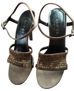 Gucci Evening Open Toe Ankle Strap Brown Formal